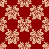 精制的米黄和褐红的花卉无缝的样式 库存照片