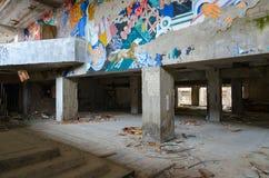 精力充沛劳动人民文化宫的休息室,Pripyat死的离开的鬼城在切尔诺贝利禁区,乌克兰 库存图片
