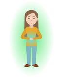 精力充沛愈合 女孩自愈与能量领域 Pranic愈合 向量例证