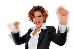精力充沛的成功的妇女 免版税库存图片
