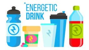 精力充沛的饮料传染媒介 能量象 瓶,体育能或锡 被隔绝的平的动画片例证 库存例证
