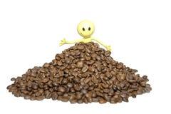 精力充沛-愉快的兴高采烈的咖啡豆人 免版税库存图片