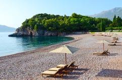 精华皇家海滩, Milocer,黑山 免版税库存图片