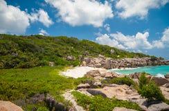 精妙的海滩在塞舌尔群岛 免版税库存图片
