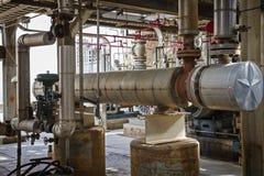 精炼厂或化工厂的热转换器 免版税图库摄影
