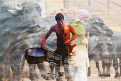 精神保护,瓦腊纳西,印度 免版税库存照片