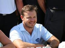 精神前高尔夫球运动员理查摆在为小组照片的Sterne在以后 免版税库存图片