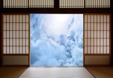 精神唤醒和与日本佛教题材的新的年龄启示概念 库存图片