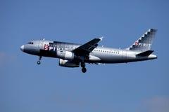 精神航空公司喷气式客机(空中客车A319) 库存照片