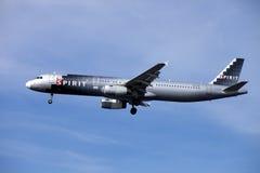 精神航空公司喷气式客机(空中客车A321) 图库摄影