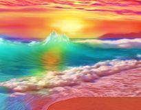 精采地在海洋的五颜六色的sunet 库存例证