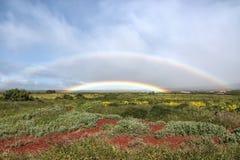 精采彩虹在Kaanapali附近的西部毛伊 免版税库存照片