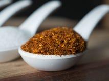 糖、盐、胡椒和被油炸的大蒜在一把白色匙子被安置 并且背景是黑的 这是装饰 免版税库存图片