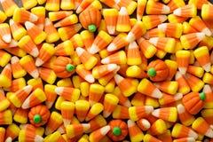糖味玉米和南瓜万圣夜背景 免版税库存图片