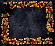糖味玉米和南瓜糖果 顶视图,拷贝空间 库存图片