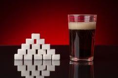 糖和焦炭不健康的饮料 库存图片