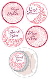 糖果与玫瑰集合的贴纸标签 免版税库存照片