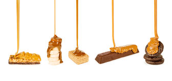 糖果和曲奇饼倒了焦糖 免版税库存图片