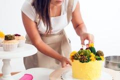 糖果商准备蛋糕 库存图片