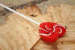 糖果在一片棕色叶子的华伦泰心脏 免版税库存照片