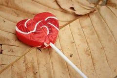 糖果在一片棕色叶子的华伦泰心脏 图库摄影