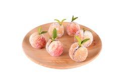 糖果在白色隔绝的木板材结果实 免版税库存照片