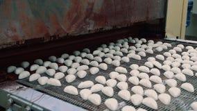 糖果工厂 传动机用搬入机器的糖果 股票录像