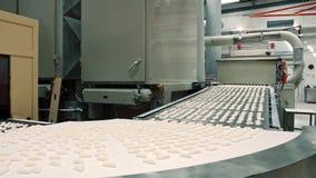 糖果工厂 在传送带的新鲜的糖果 影视素材