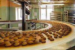 糖果店工厂生产线  移动打开的传动机的曲奇饼 库存照片