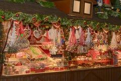 糖果摊位在Xmas市场上 库存照片