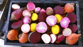 糖果条纹,金黄和紫色甜菜根一半 免版税库存图片