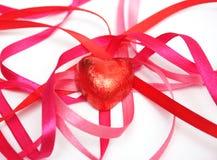 糖果箔红色丝带缎 库存图片