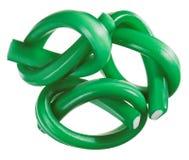 糖果绿色胶粘的欧亚甘草绳索集 免版税库存照片