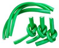 糖果绿色胶粘的欧亚甘草绳索集 库存图片