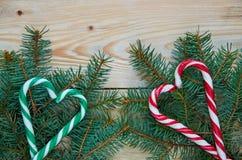 糖果锥体的绿色和红色心脏在圣诞树的分支与赠送阅本空间 新年或情人节甜点装饰 库存图片