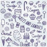 糖果集合的例证在白色背景的 免版税库存照片