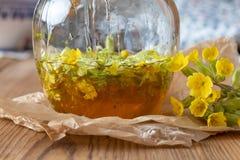 糖浆的准备从新鲜的报春花和蜂蜜的 库存照片