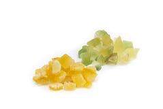 糖煮的柠檬皮和糖煮的橙皮 库存照片