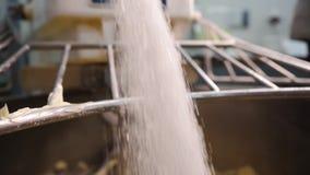 糖特写镜头涌入揉面机 E 当烹调时,糖涌入混合的搅拌器与面团 影视素材