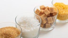 糖的各种各样的类型在白色背景的 库存图片