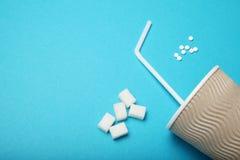 糖精药片,分配器 天冬酰苯丙氨酸甲酯,sucralose,甜叶菊rebaudiana r 图库摄影