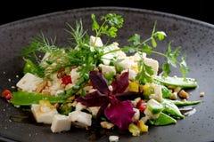 糖荚豌豆用丝质豆腐沙拉 库存图片