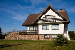 系列房子唯一白色 免版税库存照片