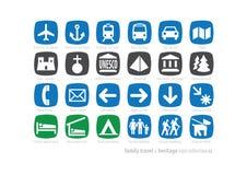 系列旅行&遗产图标collection#2 库存例证