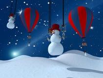 系列滑稽的雪人 免版税库存图片