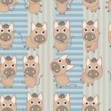 系列驴正方形无缝的模式 免版税库存图片