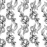 系带典雅的线艺术与花的葡萄酒样式 向量例证