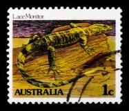 系带显示器巨晰属varius,爬行动物和Amphibes serie,大约1983年 图库摄影