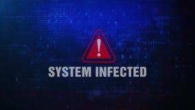 系统眨眼睛在屏幕上的被传染的戒备警告错误信息 向量例证