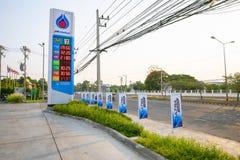 素辇,泰国2019年5月3日:PTT加油站 泰国的石油当局 免版税图库摄影
